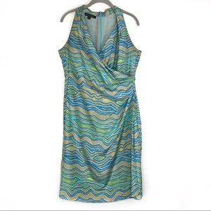 Lafayette 148 silk faux wrap sleeveless dress Sz 8